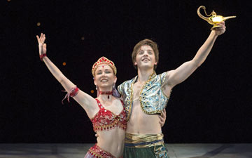 Joseph Caley and Elisha Willis in Aladdin.© Bill Cooper. (Click image for larger version)