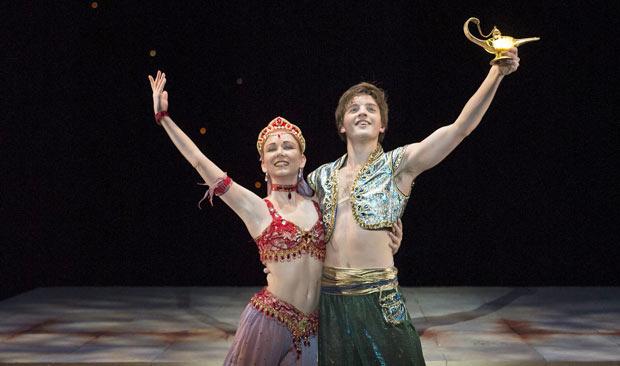 Joseph Caley and Elisha Willis in <I>Aladdin</I>.<br />© Bill Cooper. (Click image for larger version)