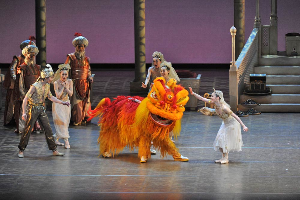 The Lion Dance in <I>Aladdin</I>.<br />© Bill Cooper. (Click image for larger version)
