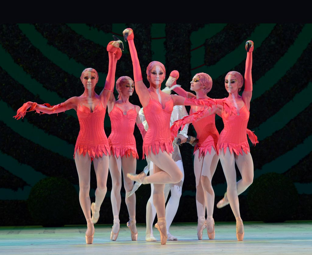 The Flamingoes in <I>Alice's Adventures in Wonderland</I>: Jacqueline Clark, Anna-Rose O'Sullivan, Fumi Kaneko, Romany Pajdak and Gemma Pitchley-Gale.<br />© Dave Morgan, by kind permission of the Royal Opera House. (Click image for larger version)