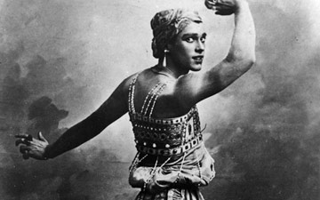 Vaslav Nijinsky as the Golden Slave in ScheherazadeCourtesy of Dancing Times. (Click image for larger version)