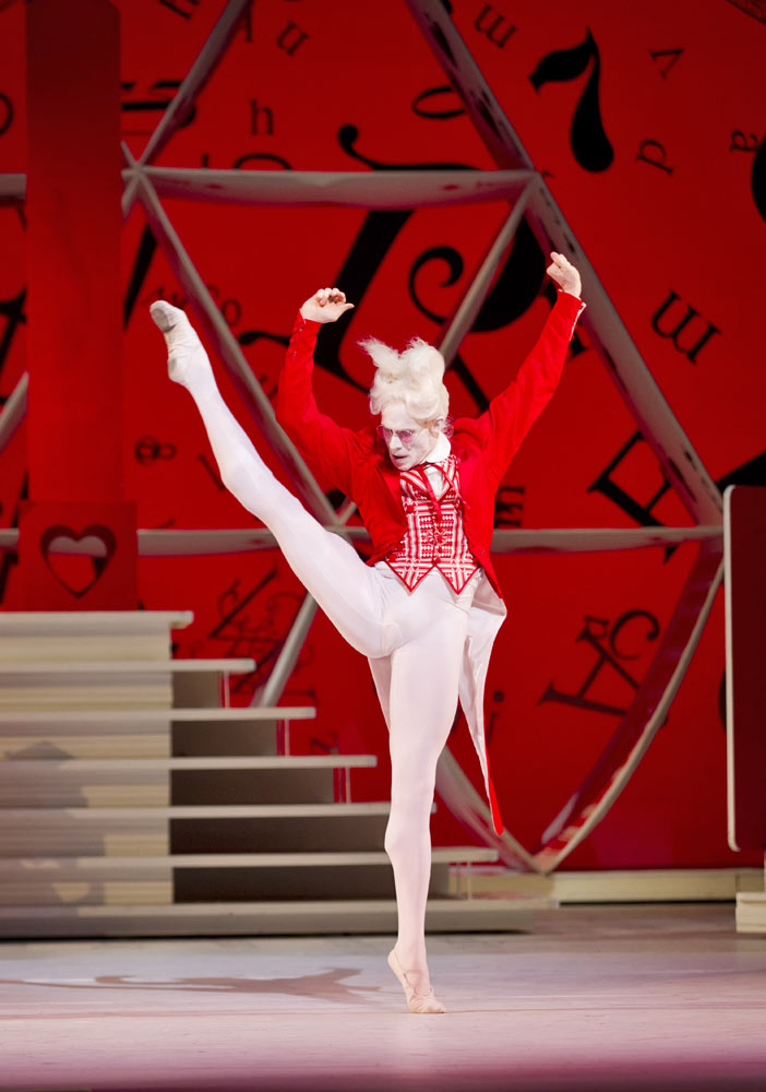 Edward Watson as the White Rabbit in Alice's Adventures in Wonderland.© Johan Persson, courtesy the Royal Opera House. (Click image for larger version)