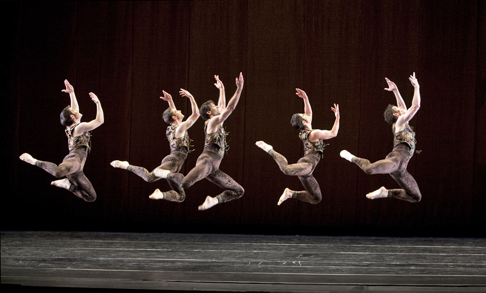 Robert Kleinendorst, James Samson, Orion Duckstein, Michael Apuzzo and Sean Mahoney in  <I>Cascade</I>.<br />© Paul B. Goode. (Click image for larger version)