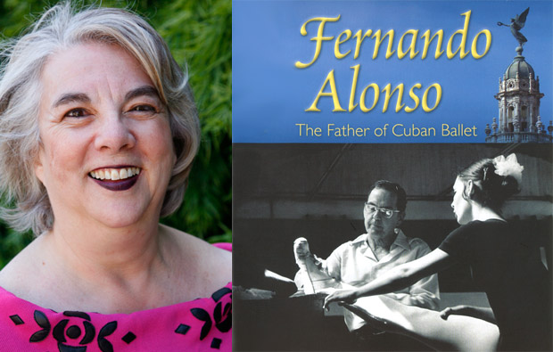 Toba Singer and the book cover of <I>Fernando Alonso, The Father Of Cuban Ballet</I>.<br />© Toba Singer and University Press of Florida.