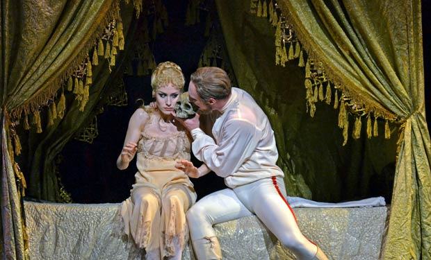 Emma-Jane Maguire (Stephanie) and Bennet Gartside (Rudolf) in <I>Mayerling</I>.<br />© Dave Morgan, courtesy the Royal Opera House. (Click image for larger version)