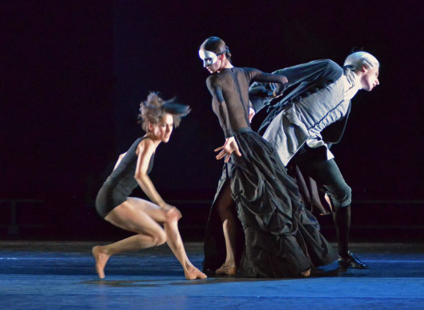 Sabina Yapparova, Polina Semionova, Marat Shemiunov in <I>Multiplicity. Forms of Silence and Emptiness</I>. © Dave Morgan. (Click image for larger version)