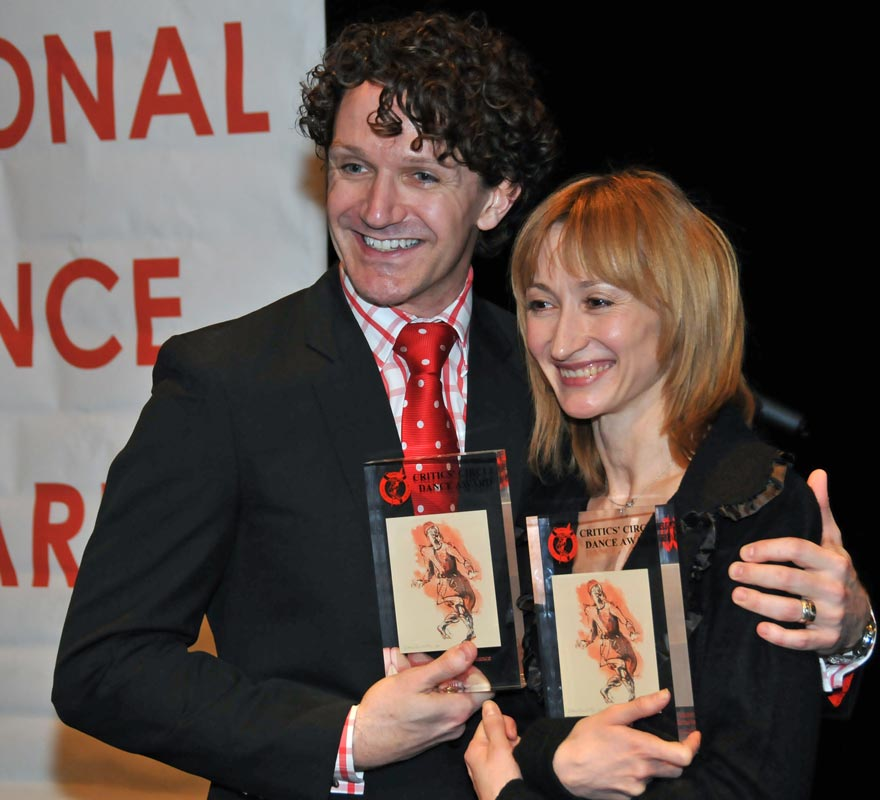 At the 2011 National Dance Awards - Daria Klimentova (Grishko Award for Best Female Dancer) with Gary Avis (Oustanding Male Performance classical winner).<br />© Dave Morgan. (Click image for larger version)
