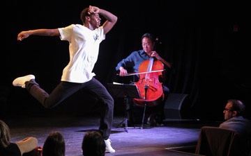 Lil Buck and Yo Yo Ma in in Philip Glass's Orbit (world premiere), part of A Jookin' Jam Session.© Erin Baiano. (Click image for larger version)