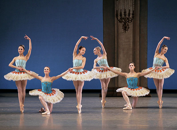 NYCB in George Balanchine's <I>Tschaikovsky Suite No. 3</I>.<br />© Paul Kolnik. (Click image for larger version)