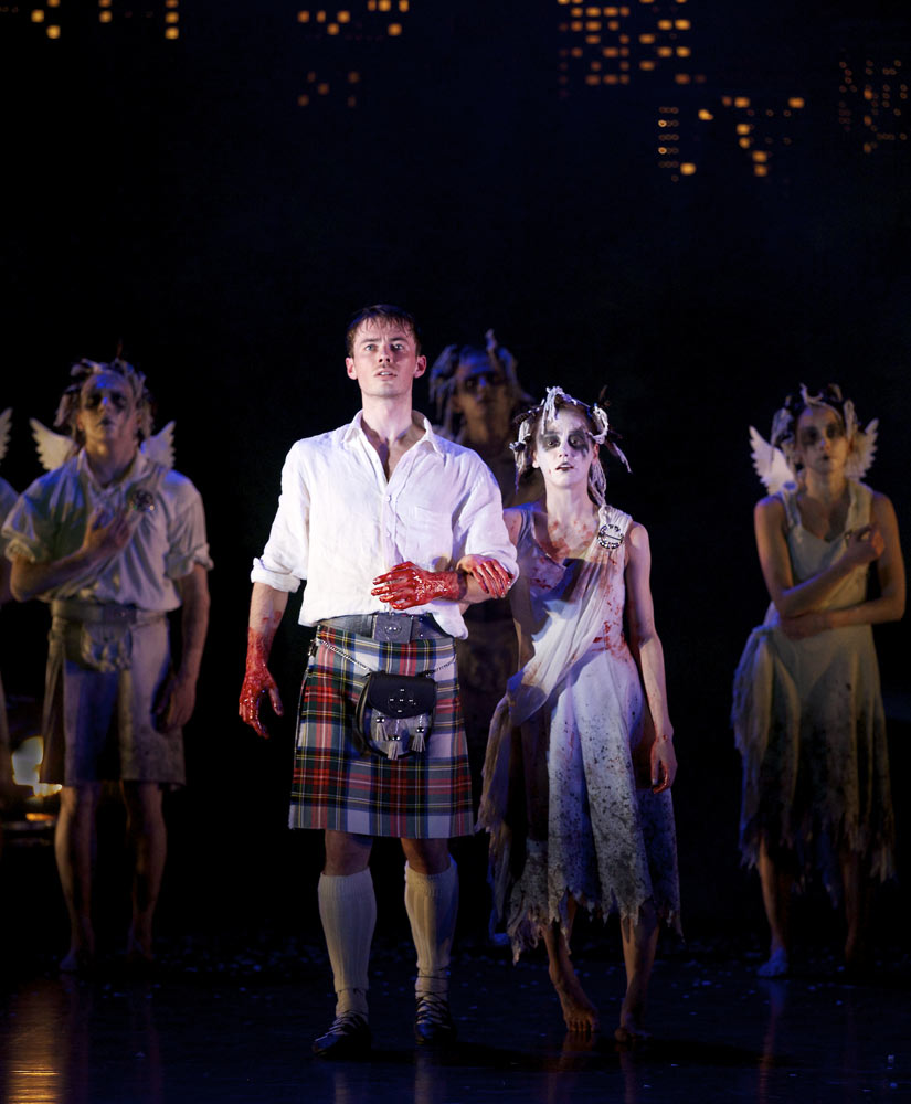 Christopher Harrison (James) and Sophie Martin as the Sylph in <I>Highland Fling</I>.<br />© Andy Ross. (Click image for larger version)