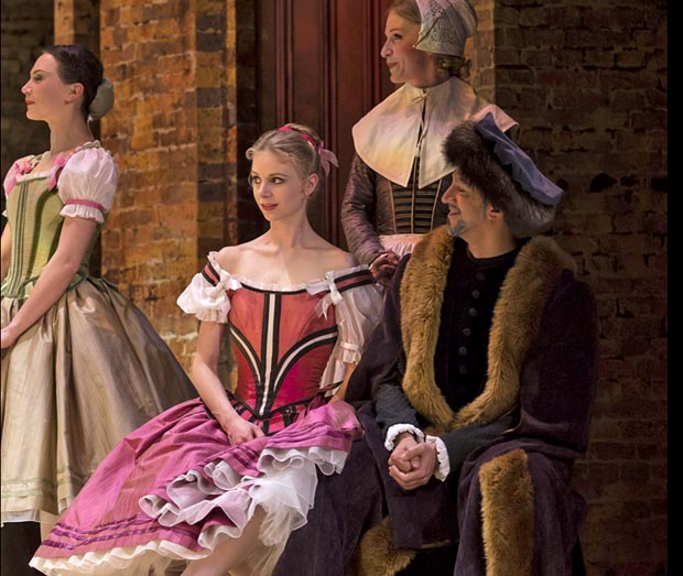 Ida Praetorius as Eleonore in <i>Kermessen in Bruges</i>, with Louise Ostergaard, Josee Bowman and Fernando Mora.<br />© Costin Radu. (Click image for larger version) cr Kermessen