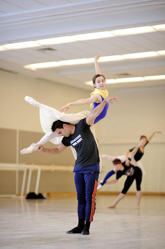Maria Kochetkova and Joan Boada rehearse Wheeldon's <I>Cinderella</I>.<br />© Erik Tomasson. (Click image for larger version)