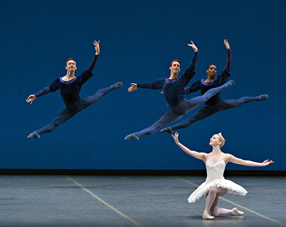 Whitney Patrick Yocum, Bradley Schlagheck and Lawrence Rines in George Balanchine's Symphony in C, © The George Balanchine Trust.© Gene Schiavone. (Click image for larger version)