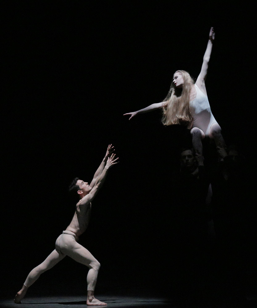Janie Taylor and Anthony Huxley in George Balanchine's <I>Ivesiana</I>.<br />© Paul Kolnik. (Click image for larger version)