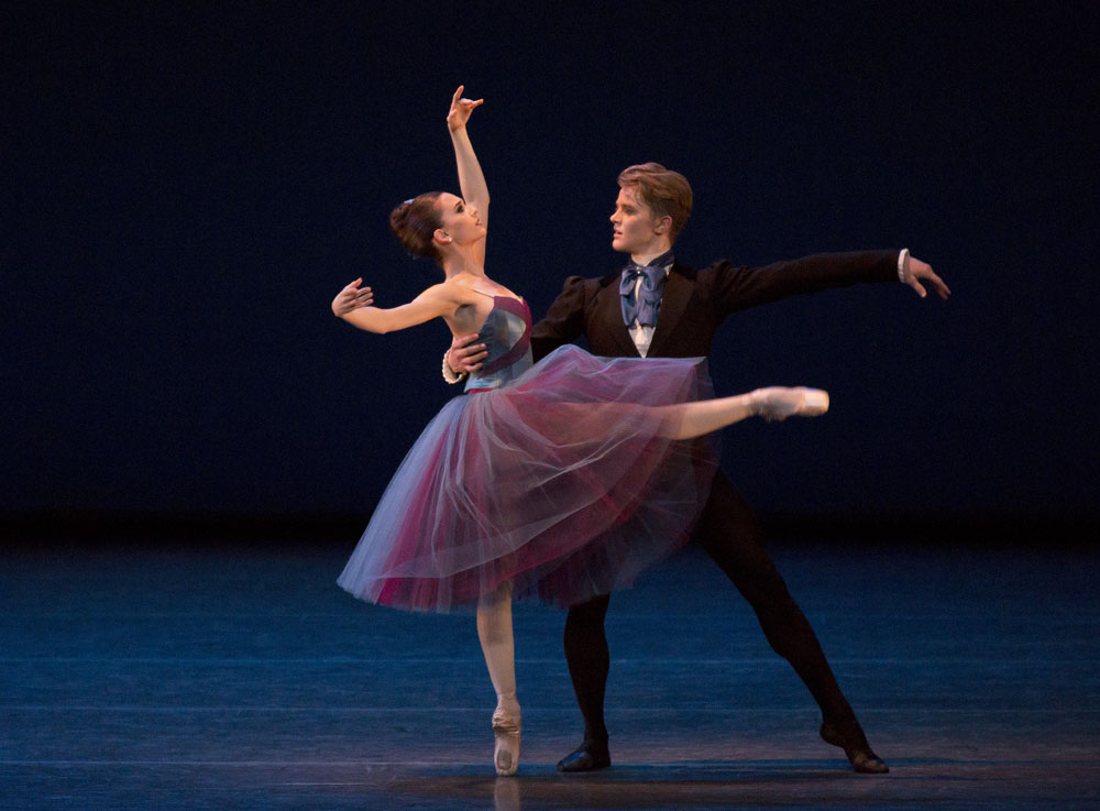 Lauren Lovette and Chase Finlay in Christopher Wheeldon's Soiree Musicale.© Paul Kolnik. (Click image for larger version)