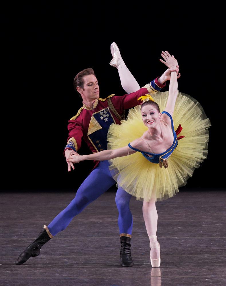 Ashley Bouder and Andrew Veyette in George Balanchine's <I>Stars and Stripes</I>.<br />© Paul Kolnik. (Click image for larger version)