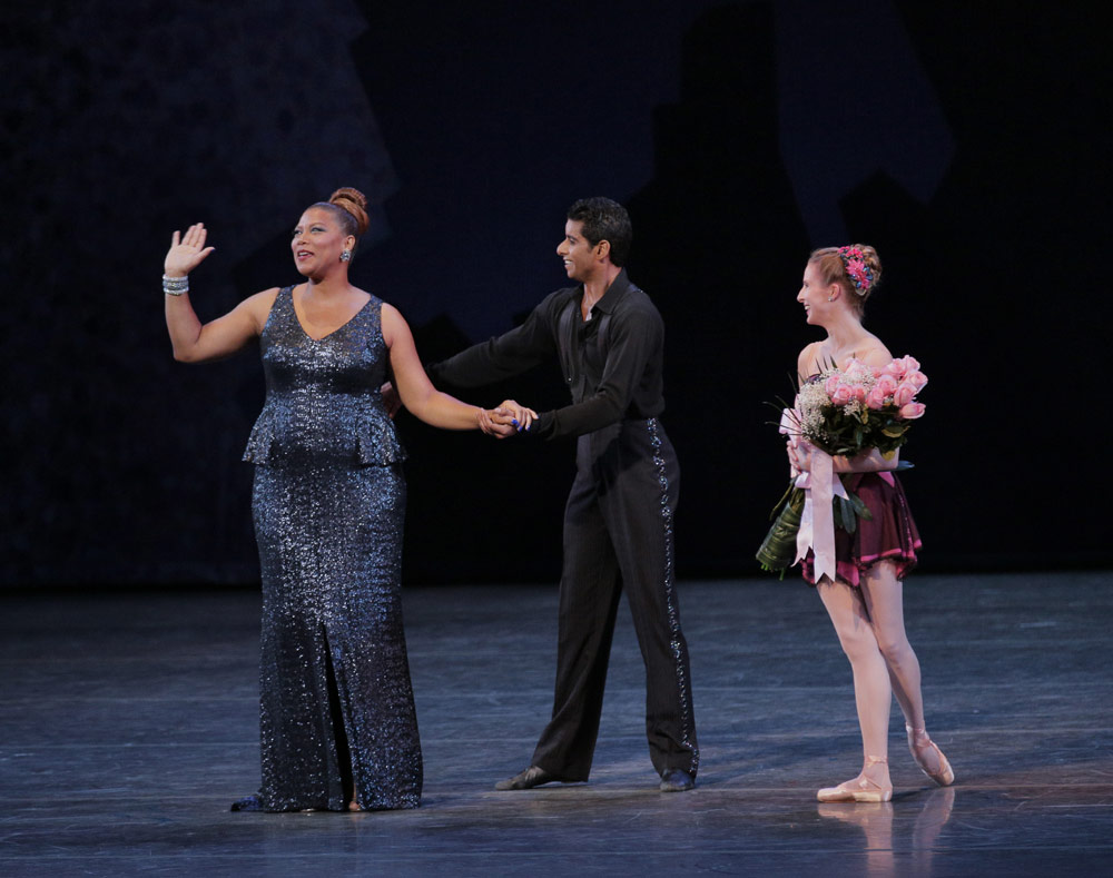 Queen Latifah, Amar Ramasar, and Sterling Hyltin bows for Who Cares?© Paul Kolnik. (Click image for larger version)