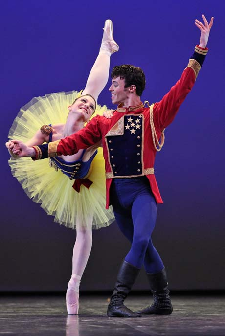 Joseph Gatti and Ashley Bouder in <i>Stars and Stripes</i>.<br />© Stas Levshin. (Click image for larger version)