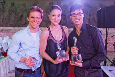 Daniel Ulbricht, Ashley Bouder and Joseph Gatti with their Dance Open Awards.<br />© Vladimir Sidorenko. (Click image for larger version)