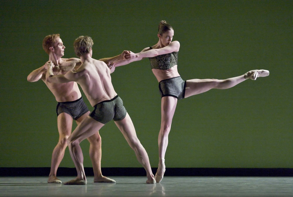 Oregon Ballet Theatre's Damian Drake, Paul DeStrooper and Alison Roper in Almost Mozart.© Blaine Truitt Covert. (Click image for larger version)