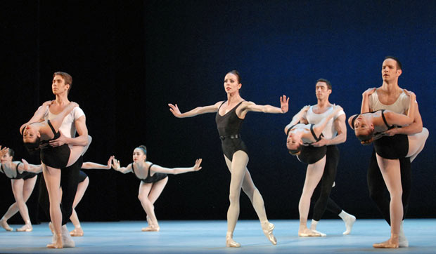 Amy Aldridge and artists of Pennsylvania Ballet in <I>The Four Temperaments</I>.<br />© Linda Spillers. (Click image for larger version)