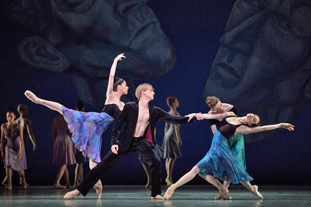 Paloma Herrera, David Hallberg, Julie Kent and Isabella Boylston in <I>Chamber Symphony</I>.<br />© Marty Sohl. (Click image for larger version)