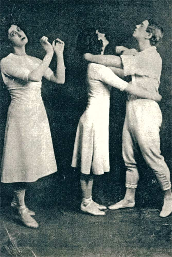 Charles Gerschel photograph of the original trio as Karsavina watches Schollar and Nijinsky begin the Turkey Trot, 1913. From Millicent Hodson, Nijinsky's Bloomsbury Ballet, Jeux (Pendragon, New York, 2008), p. 145. (Click image for larger version)