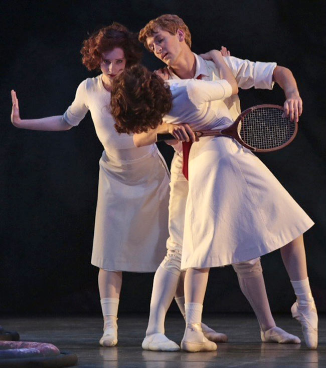 The racquet arch at [34] in the orchestra score in the reconstructed Jeux with Shelby Finnie as Schollar, Anthony Sigler as Nijinsky and Clara Superfine as Karsavina. © Donald Dietz. (Click image for larger version)