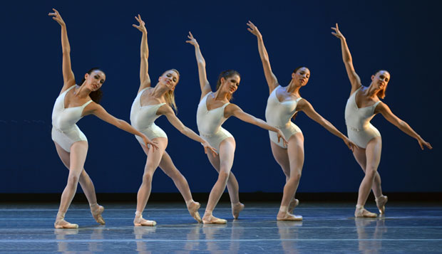 Boston Ballet in <I>Symphony in Three Movements</I>.<br />© Dave Morgan. (Click image for larger version)