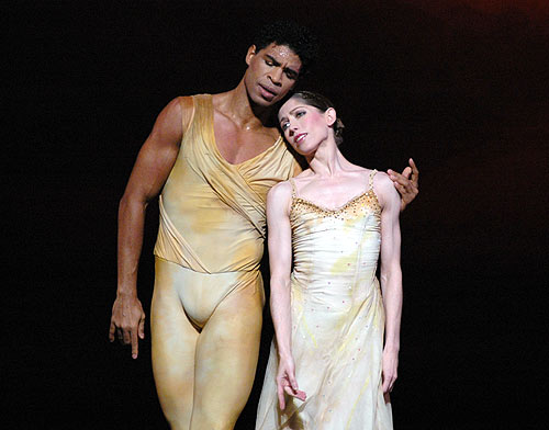 "From 2007: Carlos Acosta and Leanne Benjamin in <I>Rhapsody</I> for The Royal Ballet. Picture by <a href=""http://www.ballet.co.uk/contexts/ross.htm"">John Ross</a> for <a href=""http://www.ballet.co.uk/magazines/yr_07/feb07/lh_rev_rb_0107.htm"">Lynette Halewood's review</a>.<br />© John Ross."