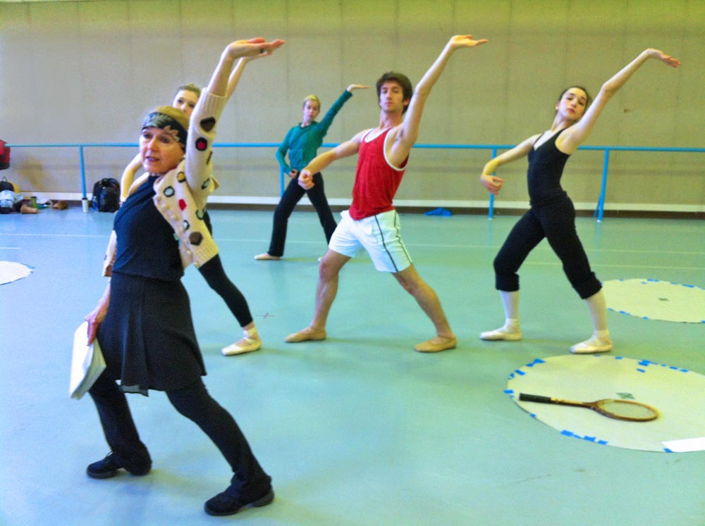 Millicent Hodson teaches the Cambodian phrase to the trio and the female cover, Kate Baier, at [51] in the reconstructed <I>Jeux</I>, UNCSA, 2013.  Nijinsky saw Rodin's drawings of Cambodian dancers at the artist's studio and, we think, adapted such movements for the gamelan simulations in Debussy's score. © Kenneth Archer. (Click image for larger version)