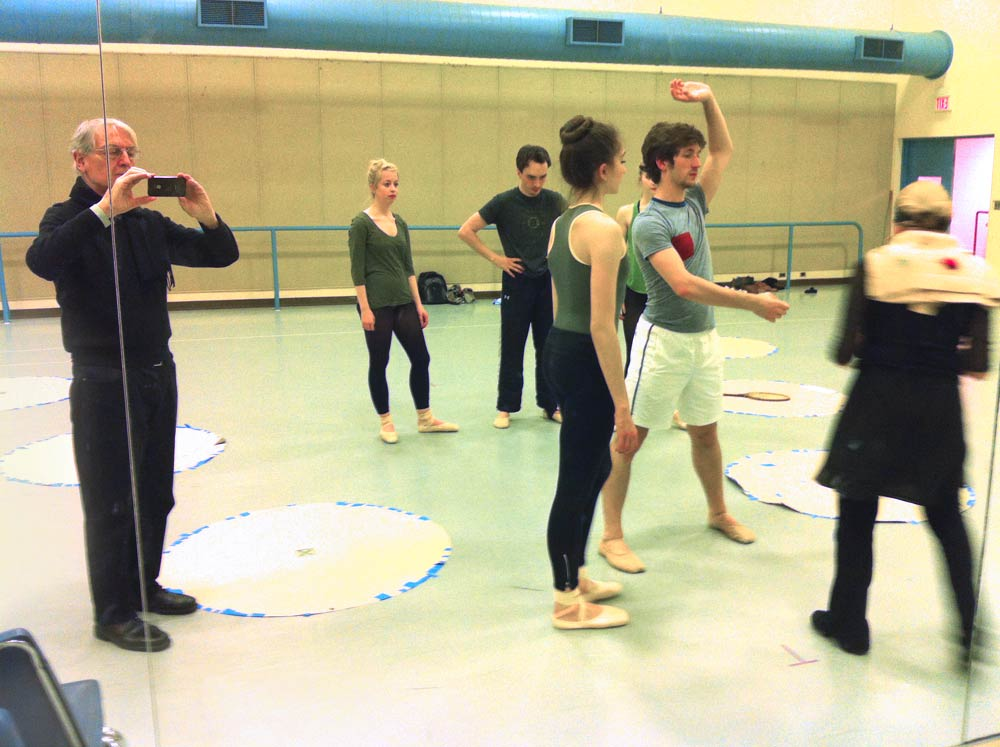 Kenneth Archer documents Millicent Hodson teaching the Cambodian phrase to the cast, including the male cover, Tommy Burnett, at [51] in the reconstructed <I>Jeux</I>, UNCSA, 2013. © Kenneth Archer. (Click image for larger version)