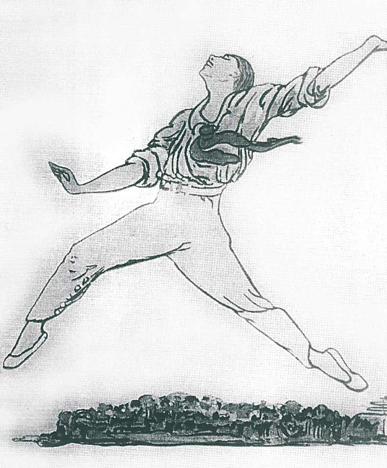 Pamela Colman Smith drawing, 1913, of Nijinsky's jeté croissé at in the reconstructed Jeux. The drawing was discovered loose at the back of a William Beaumont Morris Scrapbook, Theatre Museum, London. From Millicent Hodson, Nijinsky's Bloomsbury Ballet, Jeux (Pendragon, New York, 2008), p. 208. (Click image for larger version)