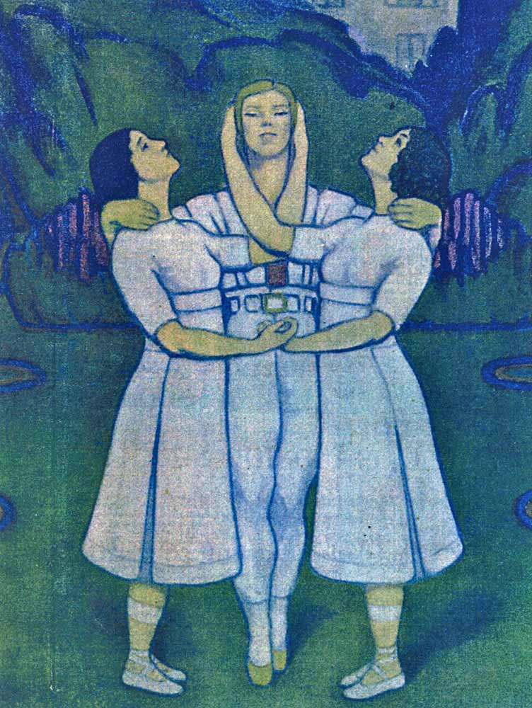 """Valentine Gross pastel of the original trio in """"the fountain"""" grouping, 1913. First published in Comoedia Illustré, the souvenir programme of Diaghilev's Ballets Russes. From Millicent Hodson, Nijinsky's Bloomsbury Ballet, Jeux (Pendragon, New York, 2008), p. 8. (Click image for larger version)"""