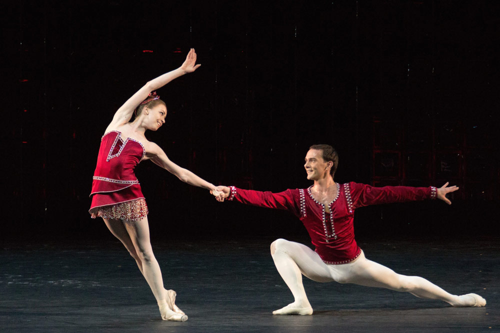 Ekaterina Krysanova, here with Vyacheslav Lopatin, in <I>Rubies</I>, from <I>Jewels</I>.<br />© Mikhail Logvinov. (Click image for larger version)