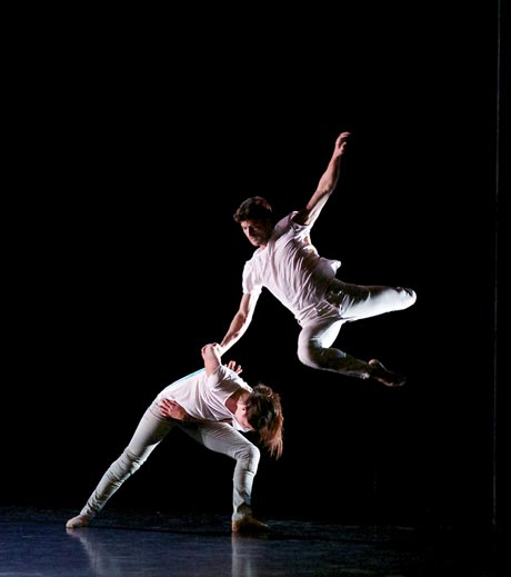 Remi Andreoni and Katie Webb in Martin Lawrance's <I>Dark Full Ride</I>.<br />© Andrew Ross. (Click image for larger version)