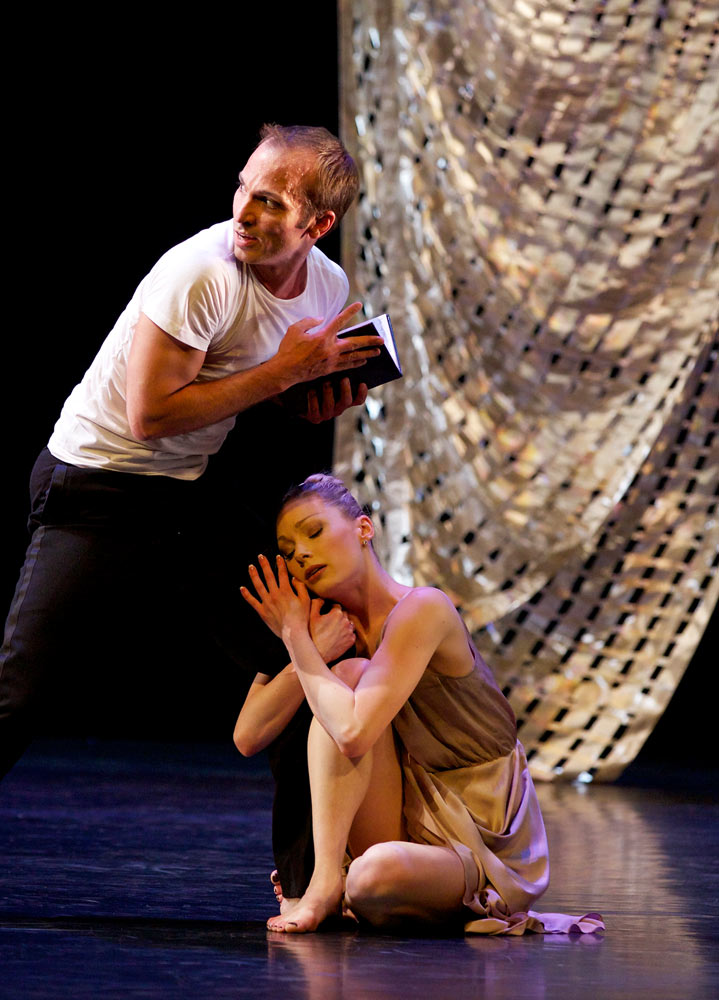 Quenby Hersh in rehearsal with Jan-Erik Wikström - Kenneth MacMillan's <I>Sea of Troubles</I>.<br />© Andy Ross. (Click image for larger version)