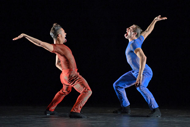 Jonathan Bond and Joseph Kudra in Jiri Kylian's <I>Indigo Rose</I>.<br />© Dave Morgan. (Click image for larger version)