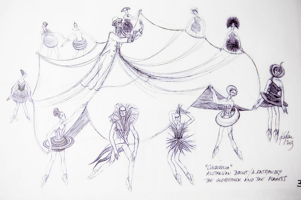 Cinderella costume designs, for the Godmother and the Planets, by Jerome Kaplan.© Jerome Kaplan. (Click image for larger version)