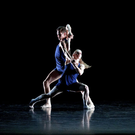 Jori Kerremans and Natalie Trewinnard in <I>In This Storm</I> by Henri Oguike.<br />© Laura Mumby. (Click image for larger version)