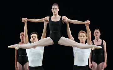 Ashley Bouder as Choleric with Robert Fairchild and Adrian Danchig-Waring in The Four Temperaments.© Paul Kolnik. (Click image for larger version)