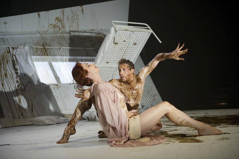 Edward Watson (Gregor) and Nina Goldman (Mrs. Samsa) in The Metamorphosis.© Tristram Kenton. (Click image for larger version)
