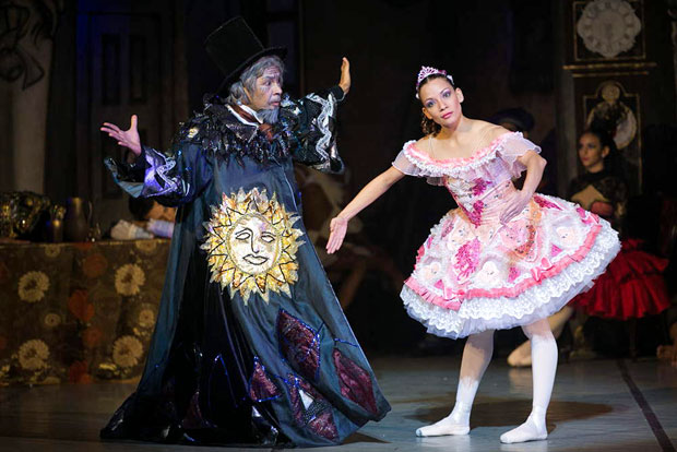 "Alexa Gutierrez and Juan Carlos Costoya as Swanilda/Coppelia and Dr Coppelius in <I>Coppelia</I>.<br />© Agustin Goncalves, <a href=""http://twitter.com/agusgon"">@agusgon</a>. (Click image for larger version)"
