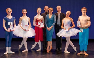 The Genée 2013 medallists together with Darcey Bussell, Kevin O'Hare and Christopher Hampson.© Andrew Ross. (Click image for larger version)