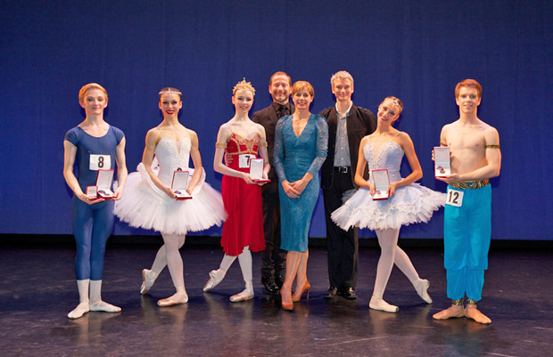 The Genée 2013 medallists together with Darcey Bussell, Kevin O'Hare and Christopher Hampson.<br />© Andrew Ross. (Click image for larger version)