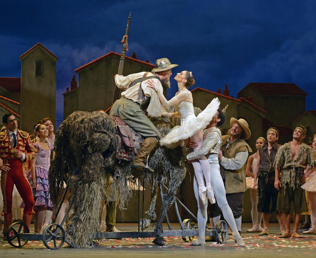 Marianela Nunez (and Carlos Acosta) with Christopher Saunders in Don Quixote.© Dave Morgan, by kind permission of the Royal Opera House. (Click image for larger version)