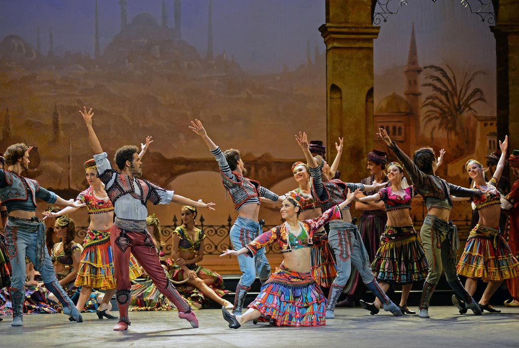 Yonah Acosta (Birbanto) & Crystal Costa (Lead Villager) in <I>Le Corsaire</I>.<br />© Dave Morgan. (Click image for larger version)