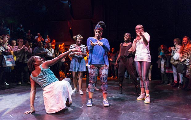 Ingrid Mackinnon, Diana Igbokwe, Kendra Horsburgh, Shanelle Clemenson and Candace Oxley in <I>Our Mighty Groove</I> by Vicki Igbokwe.<br />© Foteini Christofilopoulou. (Click image for larger version)