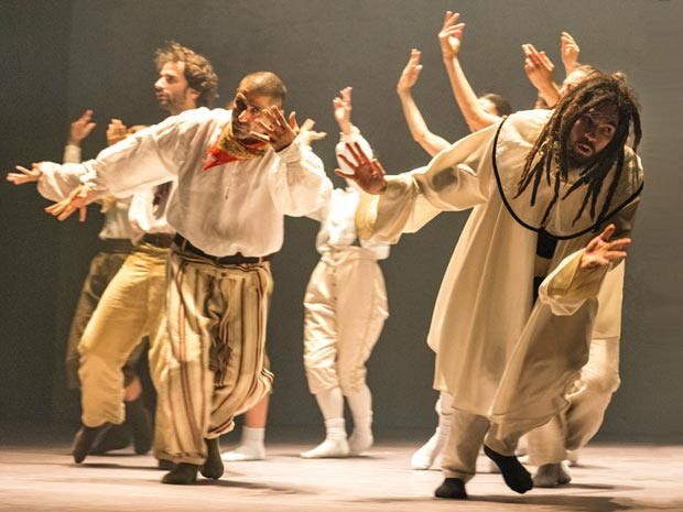 Sam Coren, Bruno Karim Guillore and Philip Hulford in Hofesh Shechter's <I>Sun</I>.<br />© Foteini Christofilopoulou. (Click image for larger version)
