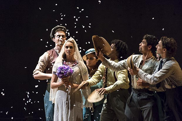 Julia Gillespie and the company in Barak Marshall's The Castaways.© Foteini Christofilopoulou. (Click image for larger version)